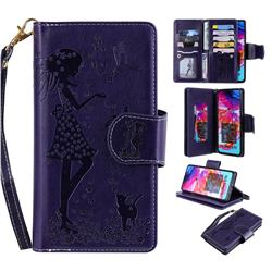 Embossing Cat Girl 9 Card Leather Wallet Case for Samsung Galaxy A70 - Purple