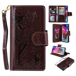 Embossing Cat Girl 9 Card Leather Wallet Case for Samsung Galaxy A70 - Brown