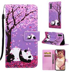 Cherry Blossom Panda Matte Leather Wallet Phone Case for Samsung Galaxy A70