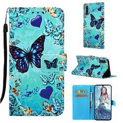 Love Butterfly Matte Leather Wallet Phone Case for Samsung Galaxy A70