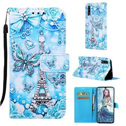 Tower Butterfly Matte Leather Wallet Phone Case for Samsung Galaxy A70