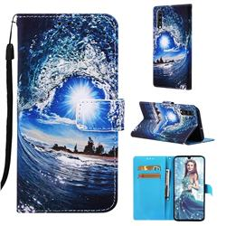 Waves and Sun Matte Leather Wallet Phone Case for Samsung Galaxy A70