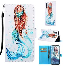 Mermaid Matte Leather Wallet Phone Case for Samsung Galaxy A70