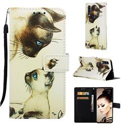 Cat Confrontation Matte Leather Wallet Phone Case for Samsung Galaxy A70
