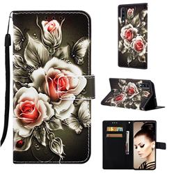 Black Rose Matte Leather Wallet Phone Case for Samsung Galaxy A70