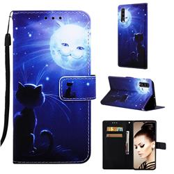 Cat and Moon Matte Leather Wallet Phone Case for Samsung Galaxy A70