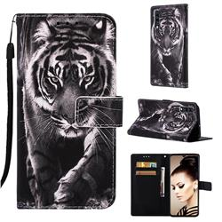 Black and White Tiger Matte Leather Wallet Phone Case for Samsung Galaxy A70