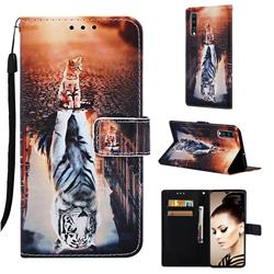 Cat and Tiger Matte Leather Wallet Phone Case for Samsung Galaxy A70