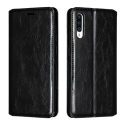 Retro Slim Magnetic Crazy Horse PU Leather Wallet Case for Samsung Galaxy A70 - Black