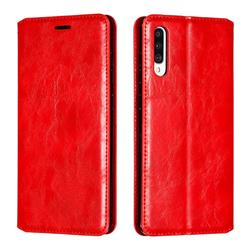Retro Slim Magnetic Crazy Horse PU Leather Wallet Case for Samsung Galaxy A70 - Red