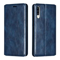 Retro Slim Magnetic Crazy Horse PU Leather Wallet Case for Samsung Galaxy A70 - Blue