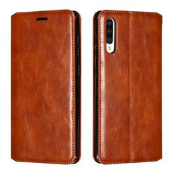 Retro Slim Magnetic Crazy Horse PU Leather Wallet Case for Samsung Galaxy A70 - Brown