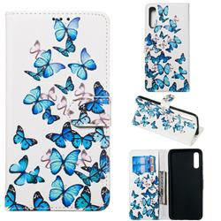 Blue Vivid Butterflies PU Leather Wallet Case for Samsung Galaxy A70