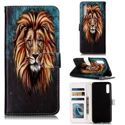 Ice Lion 3D Relief Oil PU Leather Wallet Case for Samsung Galaxy A70