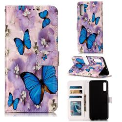 Purple Flowers Butterfly 3D Relief Oil PU Leather Wallet Case for Samsung Galaxy A70