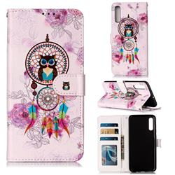 Wind Chimes Owl 3D Relief Oil PU Leather Wallet Case for Samsung Galaxy A70
