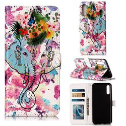 Flower Elephant 3D Relief Oil PU Leather Wallet Case for Samsung Galaxy A70