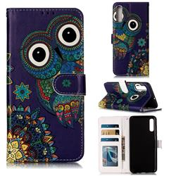 Folk Owl 3D Relief Oil PU Leather Wallet Case for Samsung Galaxy A70