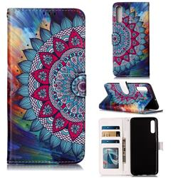 Mandala Flower 3D Relief Oil PU Leather Wallet Case for Samsung Galaxy A70