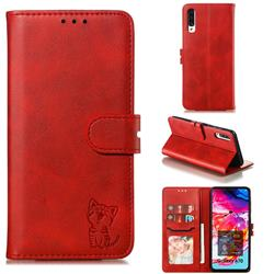 Embossing Happy Cat Leather Wallet Case for Samsung Galaxy A70 - Red