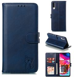 Embossing Happy Cat Leather Wallet Case for Samsung Galaxy A70 - Blue