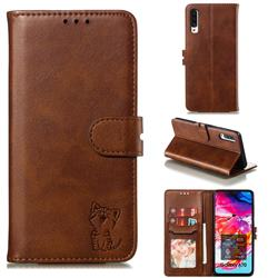 Embossing Happy Cat Leather Wallet Case for Samsung Galaxy A70 - Brown