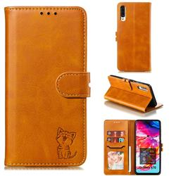 Embossing Happy Cat Leather Wallet Case for Samsung Galaxy A70 - Yellow