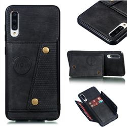 Retro Multifunction Card Slots Stand Leather Coated Phone Back Cover for Samsung Galaxy A70 - Black