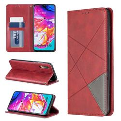 Prismatic Slim Magnetic Sucking Stitching Wallet Flip Cover for Samsung Galaxy A70 - Red