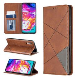 Prismatic Slim Magnetic Sucking Stitching Wallet Flip Cover for Samsung Galaxy A70 - Brown