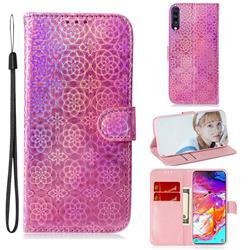 Laser Circle Shining Leather Wallet Phone Case for Samsung Galaxy A70 - Pink