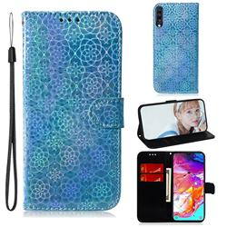 Laser Circle Shining Leather Wallet Phone Case for Samsung Galaxy A70 - Blue