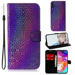 Laser Circle Shining Leather Wallet Phone Case for Samsung Galaxy A70 - Purple