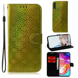 Laser Circle Shining Leather Wallet Phone Case for Samsung Galaxy A70 - Golden