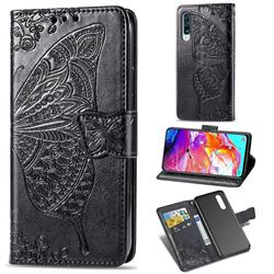 Embossing Mandala Flower Butterfly Leather Wallet Case for Samsung Galaxy A70 - Black