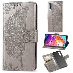 Embossing Mandala Flower Butterfly Leather Wallet Case for Samsung Galaxy A70 - Gray