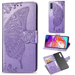 Embossing Mandala Flower Butterfly Leather Wallet Case for Samsung Galaxy A70 - Light Purple