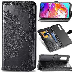 Embossing Imprint Mandala Flower Leather Wallet Case for Samsung Galaxy A70 - Black