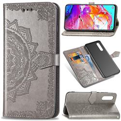 Embossing Imprint Mandala Flower Leather Wallet Case for Samsung Galaxy A70 - Gray