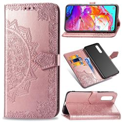 Embossing Imprint Mandala Flower Leather Wallet Case for Samsung Galaxy A70 - Rose Gold