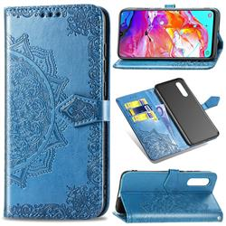 Embossing Imprint Mandala Flower Leather Wallet Case for Samsung Galaxy A70 - Blue