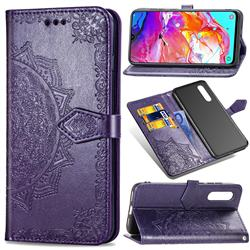 Embossing Imprint Mandala Flower Leather Wallet Case for Samsung Galaxy A70 - Purple