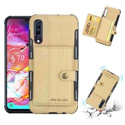 Brush Multi-function Leather Phone Case for Samsung Galaxy A70 - Golden