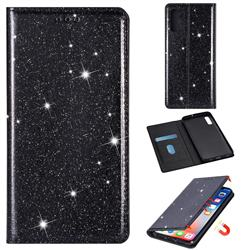 Ultra Slim Glitter Powder Magnetic Automatic Suction Leather Wallet Case for Samsung Galaxy A70 - Black