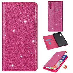 Ultra Slim Glitter Powder Magnetic Automatic Suction Leather Wallet Case for Samsung Galaxy A70 - Rose Red