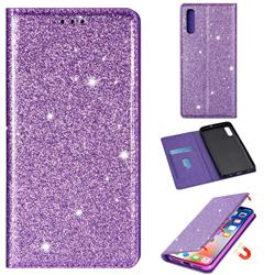 Ultra Slim Glitter Powder Magnetic Automatic Suction Leather Wallet Case for Samsung Galaxy A70 - Purple