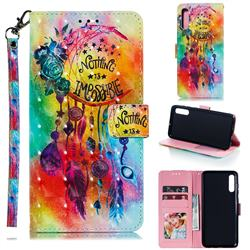 Flower Wind Chimes 3D Painted Leather Phone Wallet Case for Samsung Galaxy A70
