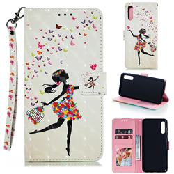 Flower Girl 3D Painted Leather Phone Wallet Case for Samsung Galaxy A70