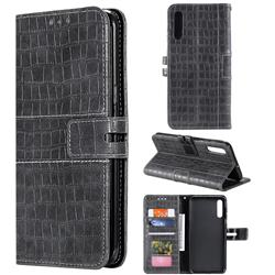 Luxury Crocodile Magnetic Leather Wallet Phone Case for Samsung Galaxy A70 - Gray