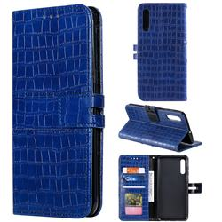 Luxury Crocodile Magnetic Leather Wallet Phone Case for Samsung Galaxy A70 - Blue
